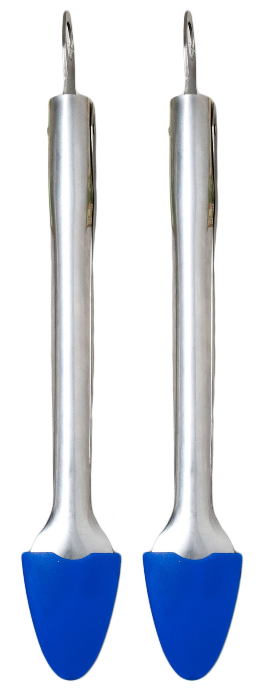 2 Stainless Steel Tongs with Blue Silicone Tips 12'' - Locking Tong (Blue) by Good Old Values