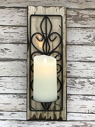 Cottage Candle Holder - CANDLE Holder SCONCE Wood & Metal *Farmhouse Wall Decor *Battery Operated Flameless Candle is OPTIONAL -Reclaimed Country Distressed Rustic -Antique White Off-White River Rock Gray Blue