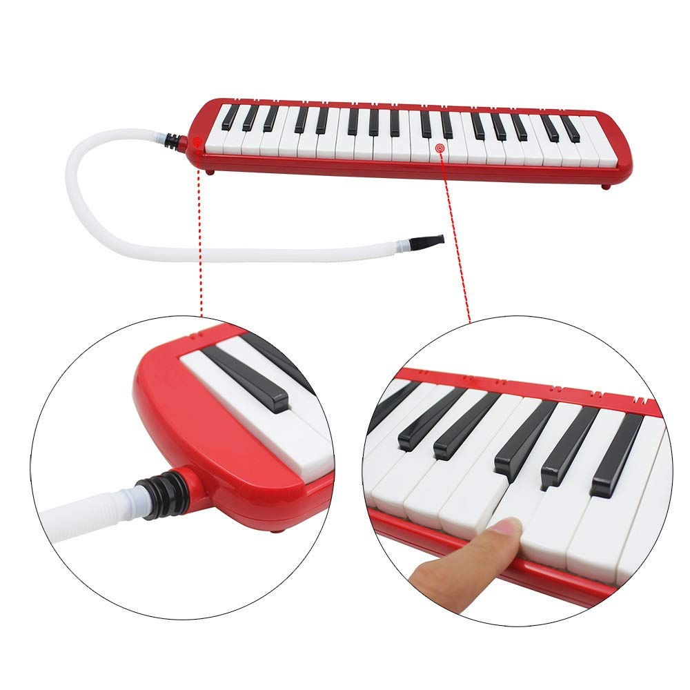 Melodica Musical Instrument Full Sets Piano Style Melodica Educational 37 Keys Portable Musical Instrument With Carrying Bag Straps 2 Mouthpieces Tube Gift Toys For Kids Music Lovers Beginners Red for by Shirleyle-MU (Image #4)