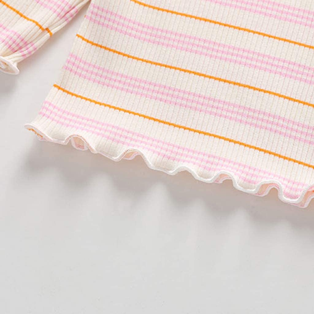 Yezijin Toddler Baby Kids Girls Ruched Striped Tops T-Shirt Casual Clothes for 1-5 Years