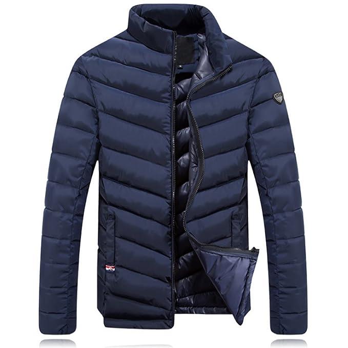 a6bc9adc3bf224 BOZEVON Cappotto da Uomo Corto Piumino di Inverno Giacca Manica Uomini, Blu