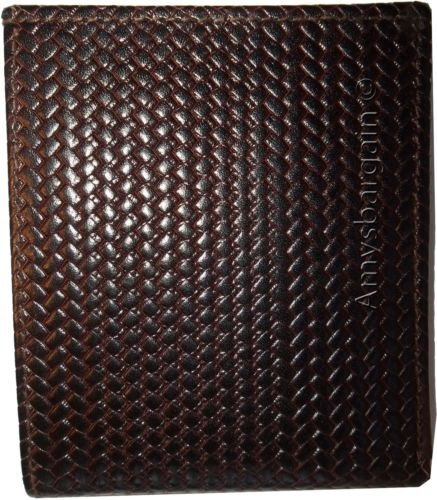 Brown 2 Billfolds fold Styled ID Leather Printed Brown Man's bi 8 Italian Wallet Card Woven Zqw6CT
