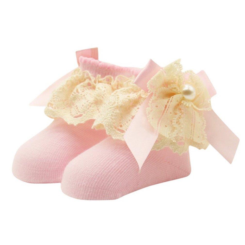 1 Pair Bowknot Infant Socks Ruffled Knitting Cotton Short Ankle Socks 0-12M Pink 3M