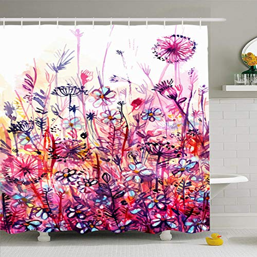 Ahawoso Shower Curtain Set with Hooks 66x72 Meadow Yellow Pink Point Purple Flowers Dandelion Abstract Bent Spring Watercolor Berries Nature Waterproof Polyester Fabric Bath Decor for Bathroom (Bush With Purple Flowers And Yellow Berries)