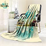 Digital Printing Blanket India Asian Kuala Lumpur Buildings Tropical Art Summer Quilt Comforter