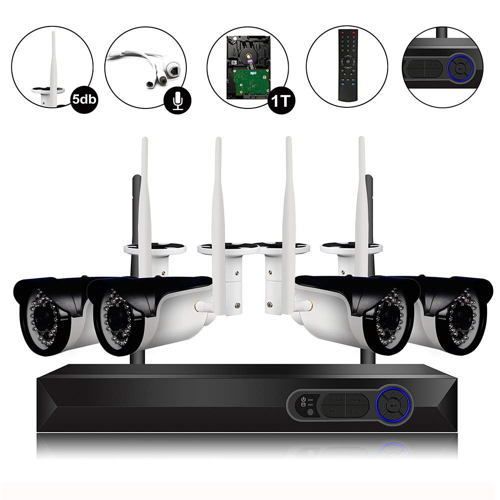 CAMVIEW 4CH 720P Wireless Security CCTV Surveillance System WiFi NVR Kits, 4CH 1.0MP Wireless WiFi Indoor/Outdoor IP Cameras, Audio Plug, P2P, 65FT Night Vision, 1TB HDD Pre-Installed