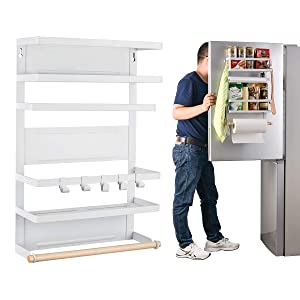 Refrigerator Organizer Rack Magnetic Kitchen Magnetic Holder With Hook Strong Power magnet For Paper Towel Holder Rustproof Spice Jars Rack Refrigerator Shelf Storage Hanger Oganizer Tool 19 X13X5.3IN