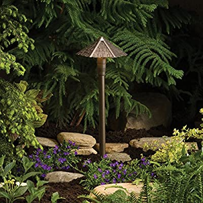 15401AZT Thatched Roof 1LT Incandescent/LED Hybrid Low Voltage Landscape Path and Spread Light, Textured Architectural Bronze Finish with Clear Glass Sprinkler Shield