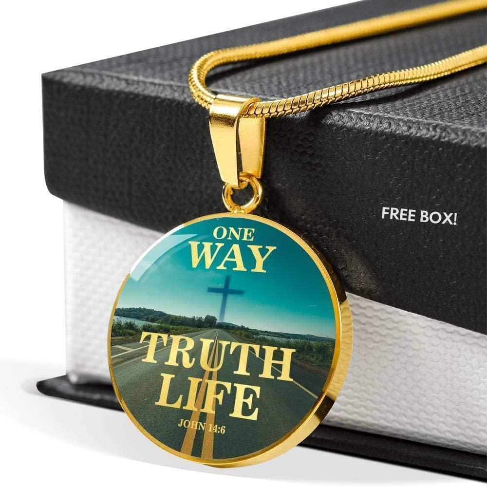 Express Your Love Gifts One Way One Truth and One Scripture-Inspired Circle Pendant Necklace Engraved Stainless Steel 18-22
