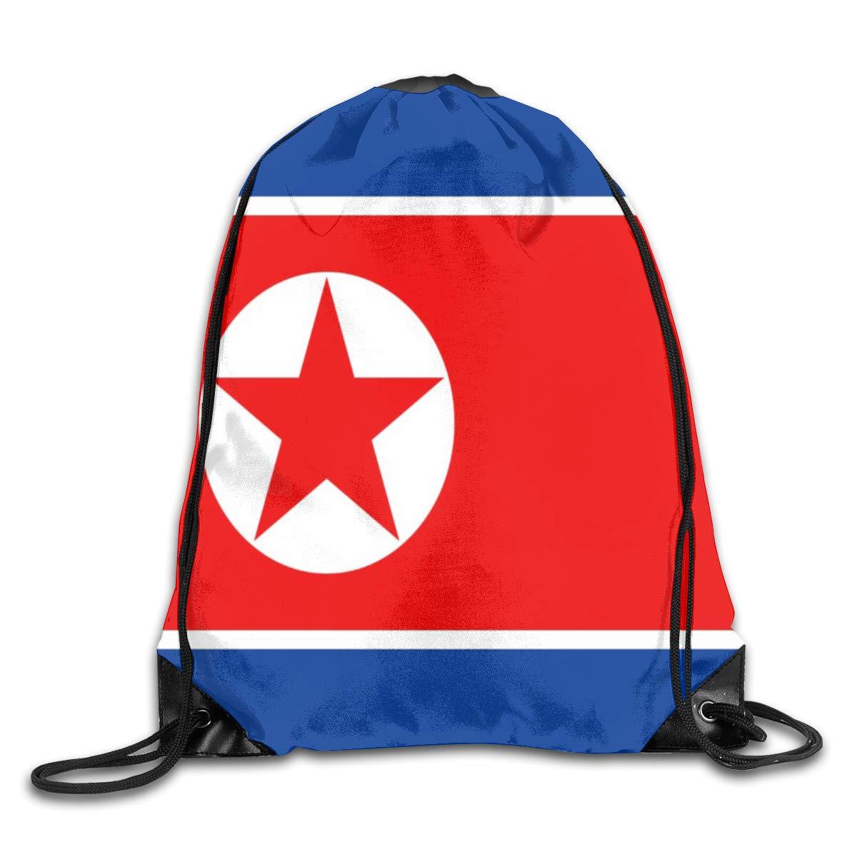 Flag Of North Korea Beam Mouth Backpack Pull Rope Shoulder Bag Outdoor Sports Leisure Bag