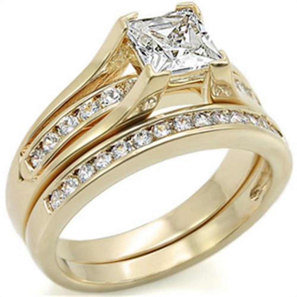 Free Engraving! New Improved! Princess Cut 6mm Flawless Lab Diamonds Ring and Half Eternity Channel Set Band. Never Tarnish. Stamped 316. Great Quality Engagement Wedding Set. 24K Gold Electroplated. Ah! Jewellery