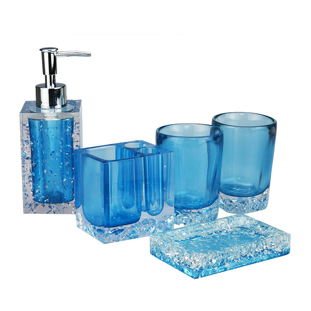 LUANT Resin Soap Dish, Soap Dispenser, Toothbrush Holder & Tumbler Bathroom Accessory 5 Piece Set (Blue)