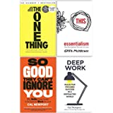 The One Thing, Essentialism, So Good They Cant Ignore You, Deep Work 4 Books Collection Set