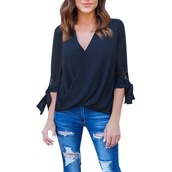 BaZhaHei-Blusa de mujer Shirt Larga de Mujer, Cuello en V de Gasa de