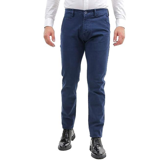 89161410360498 Pantaloni Uomo Elegante Classico Slim Fit Blu Tasca America Stretti  Pantalone Cotone Casual Chino Basic Elasticizzati Aderenti Jeans Sportivo  (50): ...