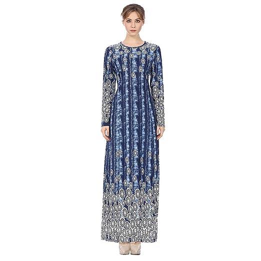 a928f44d092 Amazon.com  Sunyastor Muslim Dress Dubai Kaftan for Women Muslim Arab  Islamic Middle East Ethnic Print Long Sleeve Abaya Long Dress  Clothing