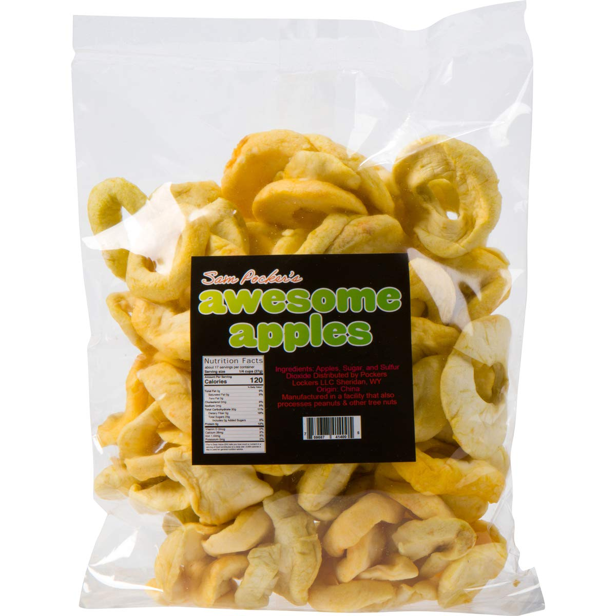 Sam Pocker's Awesome Apples - 1 Pound Bag of Real Dried Whole Apple Rings - Healthy Fiber-Rich Fruit Slices with Zero-Fat, Vegan, Asian Variety - Sweet Dehydrated Crisps with Sugar & Sulfur Dioxide