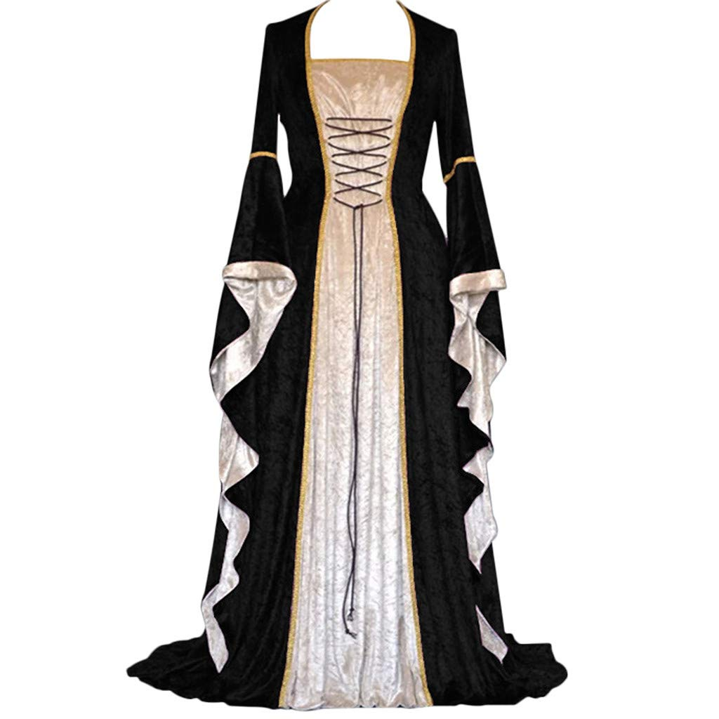 ℱLOVESOOℱ Renaissance Medieval Costume Dress for Women, Trumpet Sleeves Fancy Gothic Lace Up Over Long Dress Cosplay Gown Black by ℱLOVESOOℱ