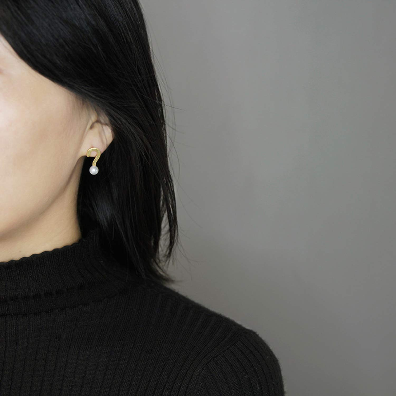 Tata Trend Fashion Jewelry Question Mark Pearl Stud Earrings For Women