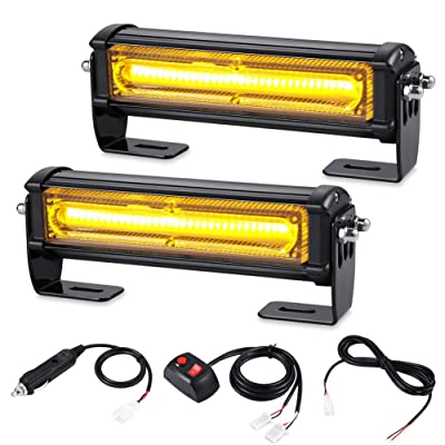 AT-HAIHAN Amber Grille Light Head, 16W Bright Linear LED Mini Strobe Lightbar Surface Mount for POV, Utility Vehicle, Construction Vehicle and Tow Truck Van: Automotive