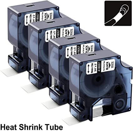 """2 PK Compatible for DYMO Rhino IND Heat-Shrink Tube 18057 Label Tape 19mm 3//4/"""""""