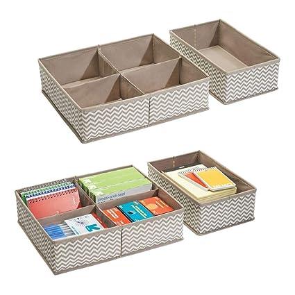 mDesign Juego de 4 separadores de cajones ? 10 compartimentos en total - Cajas organizadoras de