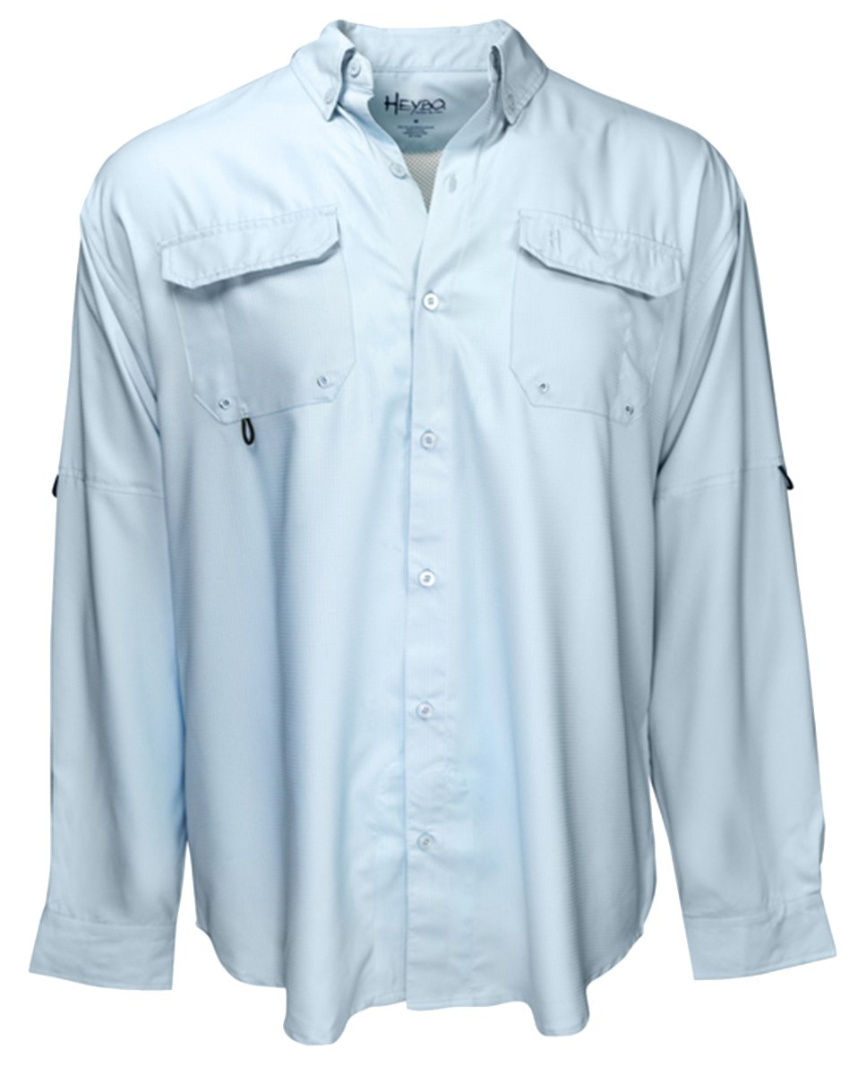 Azure blueee Large Heybo Men's The Boca Grande LS Fishing Shirt