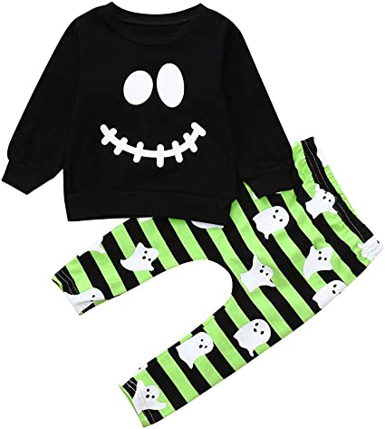 Alwayswin Halloween Kost/üm Kleinkind Baby Jungen M/ädchen Cartoon Ghost Tops Pullover Hosen Halloween Outfits Set Langarm Top Sweatshirt Hose Zweiteiliges Set 12M-4T