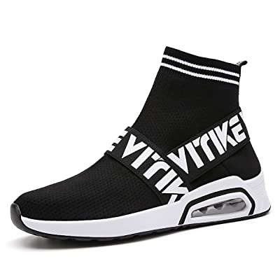 Running Shoes Fashion Breathable Sneakers Air Cushion Athletic Socks Shoes Knit Pattern Mesh Lightweight Gym Casual Shoes(Kids&Adult)