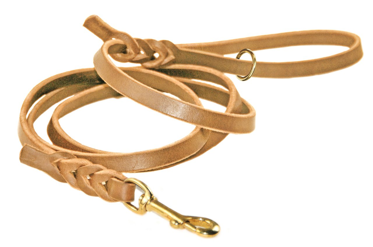 Dean & Tyler Tan Nocturne Brass Snap Leash with Ring on Handle, 2-Feet by 1 2-Inch
