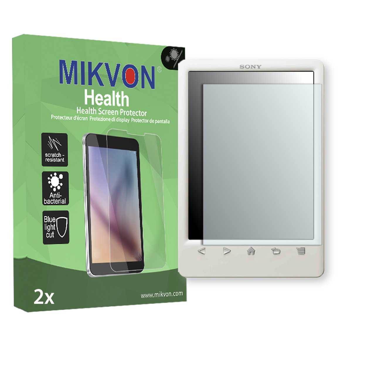 2X Mikvon Health Screen Protector for Sony PRS-T3 Antibacterial BlueLightCut Foil - Retail Package with Accessories MH197480