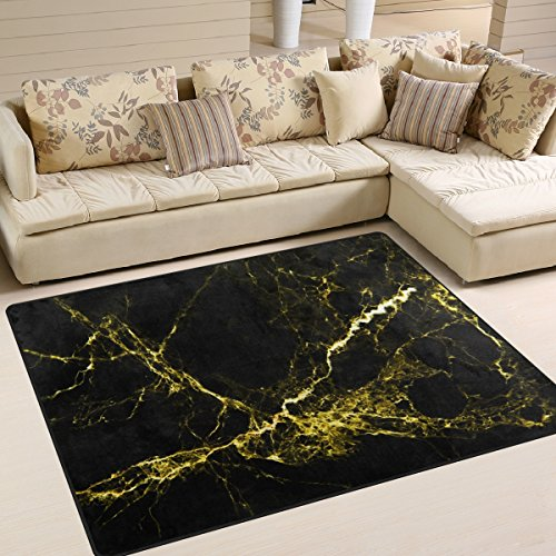 XiangHeFu Soft Doormats 7'x5' (80x58 Inches) Area Rugs Abstract Ink Marble Stone Texture Black Gold Non-Slip Floor Mat Resting for Living Room Bedroom (Texture Black Rug)