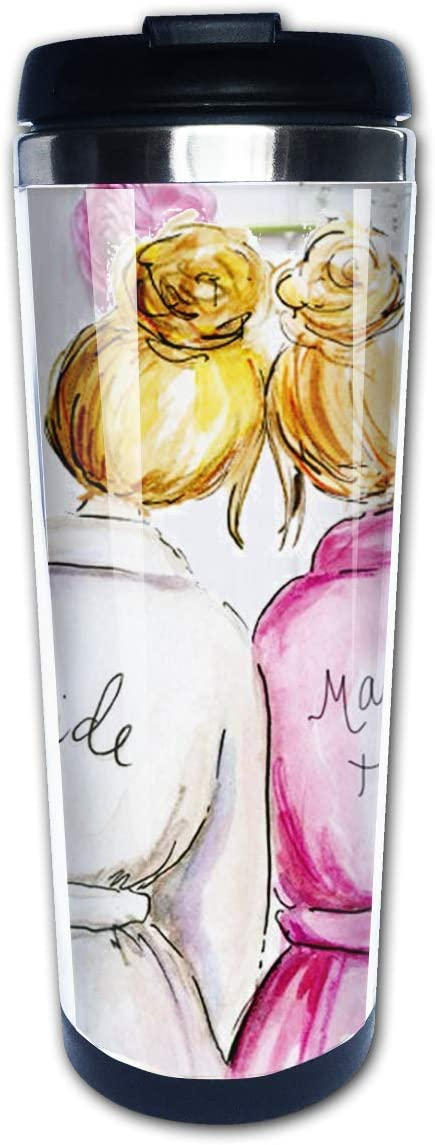 Maid Of Honor With Bride Friend Bestie Bitch Wedding Party Valentines Day Gifts Travel Mug Tumbler With Lids Thermos Coffee Cup Vacuum Insulated Flask Stainless Steel Hydro Water Bottle 14 oz