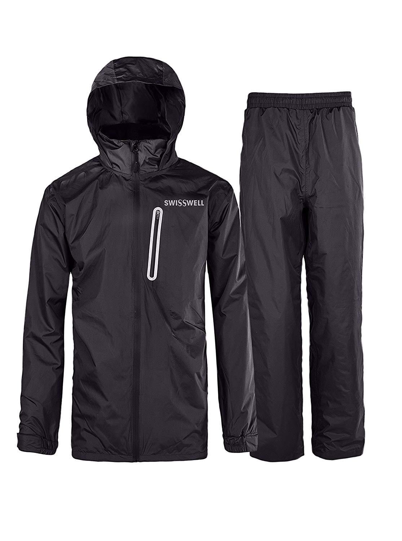 SWISSWELL Mens Waterproof Rainsuit with Hood Black Large
