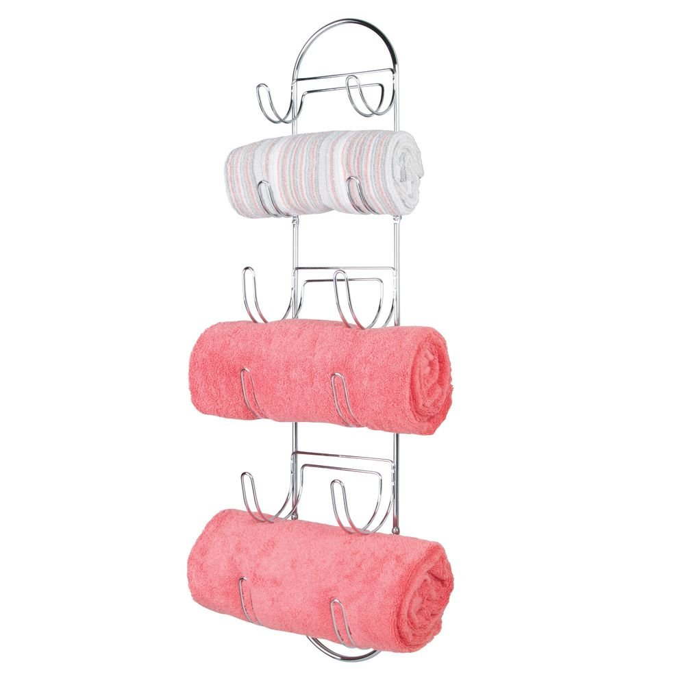 mDesign Wall Mounted Metal Wire Towels Storage Shelf Organizer Rack Holder with Six Compartments Shelves for Bathroom - Chrome