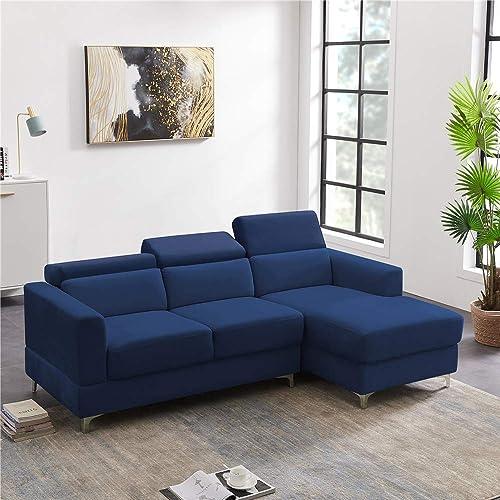Velvet Convertible Sectional L-Shape Sofa