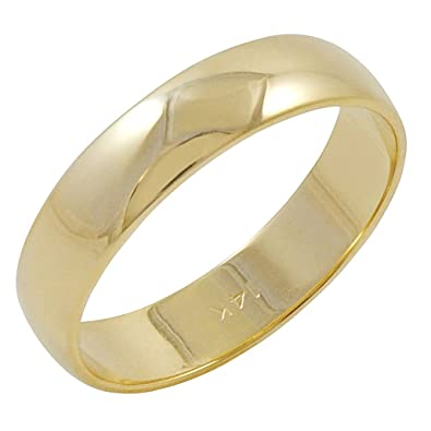 Men's 14K Yellow Gold 5mm Traditional Plain Wedding Band (Available Ring  Sizes 8-12