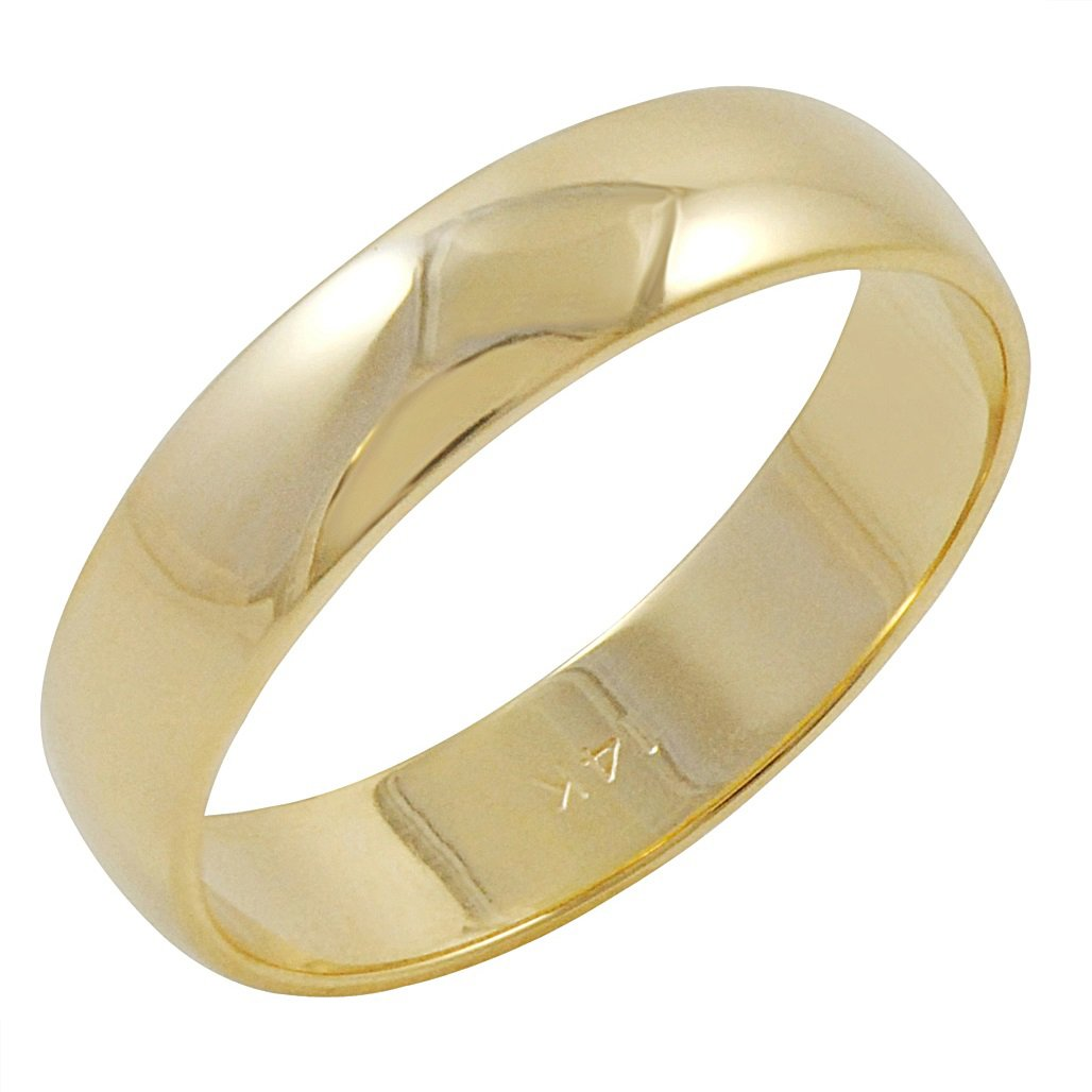 Men's 14K Yellow Gold 5mm Traditional Plain Wedding Band (Available Ring Sizes 8-12 1/2) Size 9