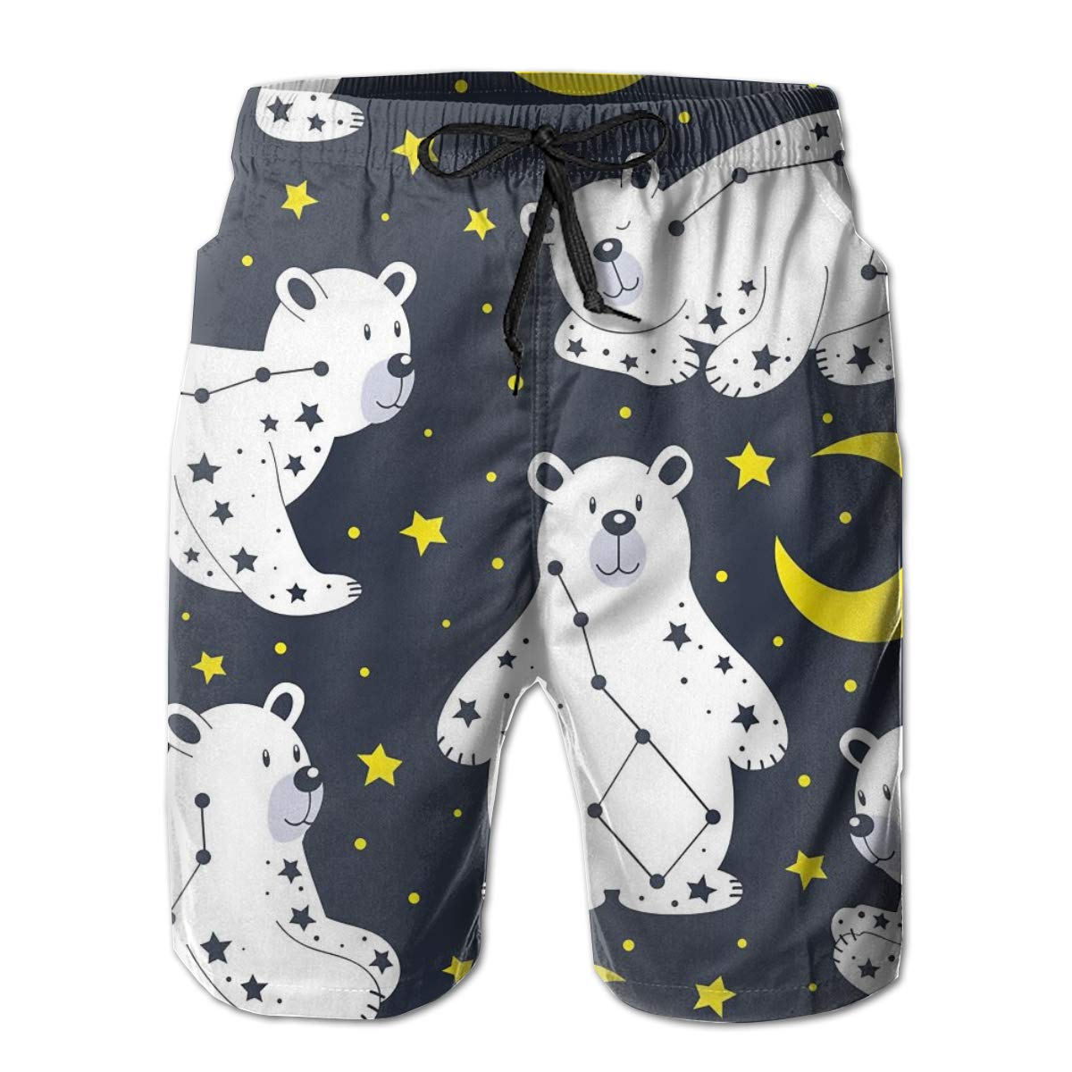 SARA NELL Mens Shorts White Bear and Constellation Quick Dry Swim Trunks Beach Board Shorts