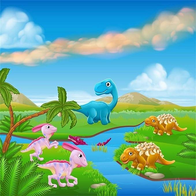 EdCott 8x8ft Cartoon Jurassic World Dinosaur Telón de Fondo ...