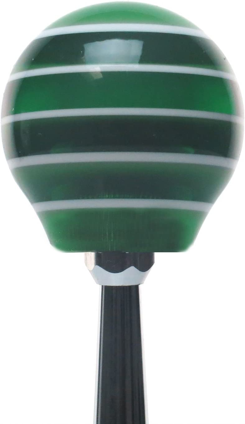 Red Transfer Case #6 American Shifter 127657 Green Stripe Shift Knob with M16 x 1.5 Insert