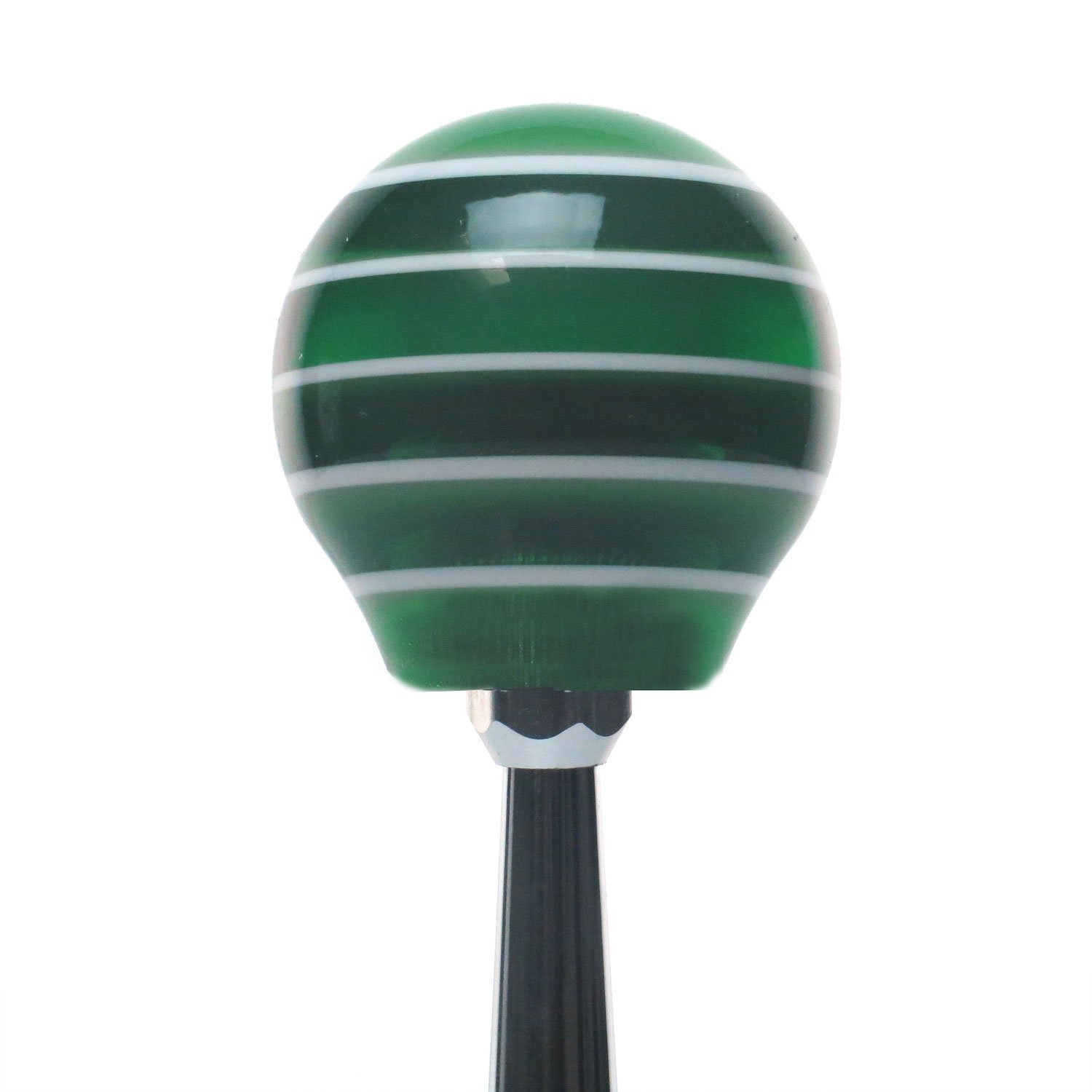 American Shifter 150813 Green Stripe Shift Knob with M16 x 1.5 Insert Black and Orange Pinstripe Skull 2