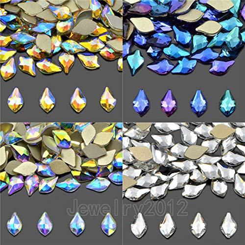 (Pukido 200PCS/Pack 6x10mm Petal Czech Crystal Rhinestone Flatback Nail Art Decoration Multi-Color Fashion - (Color: Randomly Mixed))