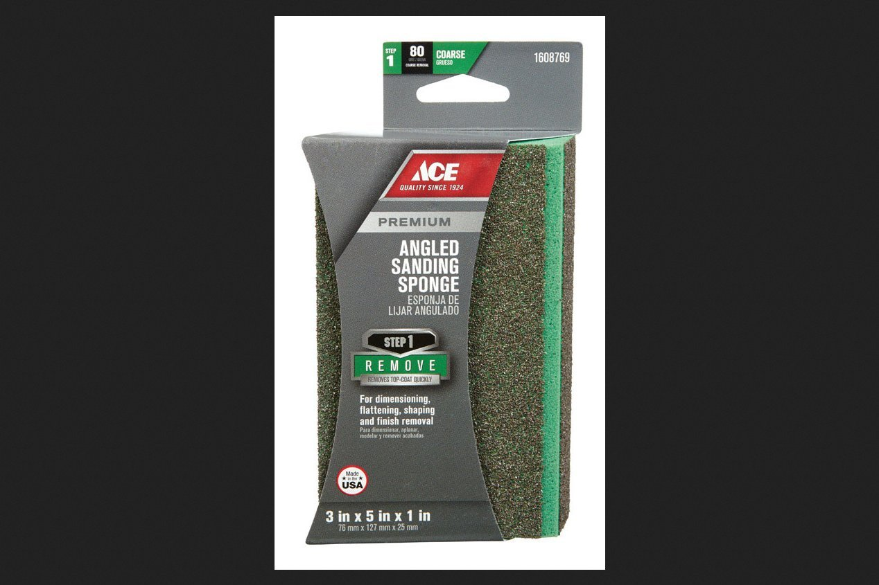 Ace Aluminum Oxide Angled Sanding Sponge 5 in. L Coarse 80 Grit