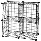 IRIS Medium Wire Storage Cubes, Set of 4, Black
