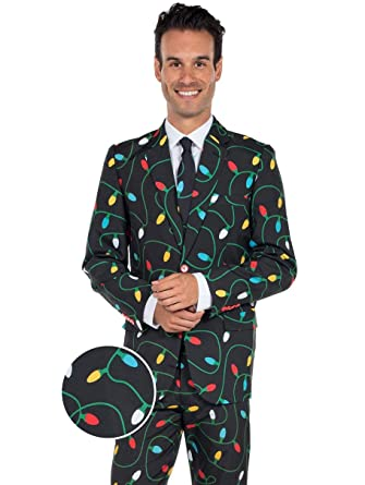 a24cef0fd Tangle Wrangler Christmas Suit - Ugly Christmas Sweater Party Suit: 44J/34P  Black at Amazon Men's Clothing store:
