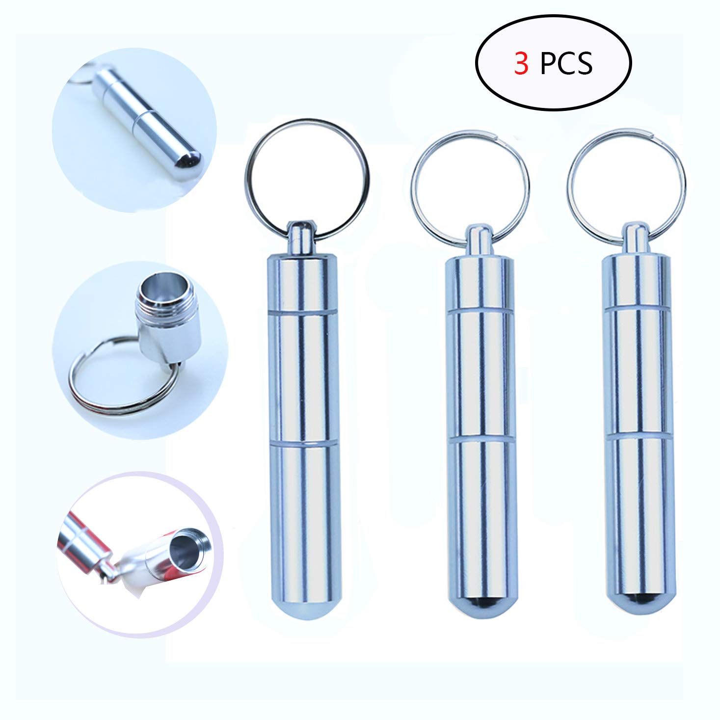 3.07 x 0.55 Inch Portable Toothpick Pocket with Wire Keychain Cable Heatoe 3 Pcs Aluminum Toothpick Holder Dustproof and waterproof Toothpick Case