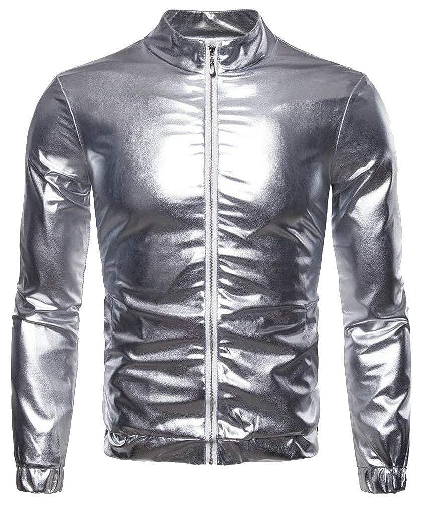 Wopop Mens Bomber Long Sleeve Pocket Baseball Metallic Loose Coat Jacket