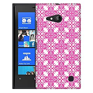 Nokia Lumia 730 Case, Slim Fit Snap On Cover by Trek Victorian Retro Pink on White Case