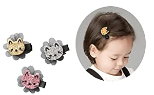 Hair Clips Tie Cat Design For Girls Kids Toddler Baby Party Cat Cute Snap By FANCYBABY (3 Colors Cat Hair clips)